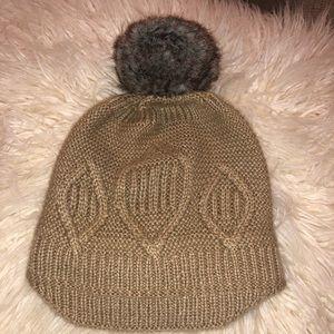 Surell slouchy faux fur Pom Pom hat